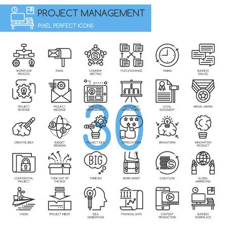 Illustration pour Project management , thin line icons set - image libre de droit