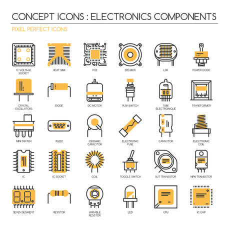 Electronic components , thin line icons set ,pixel perfect icons ,Pixel Perfect Icons