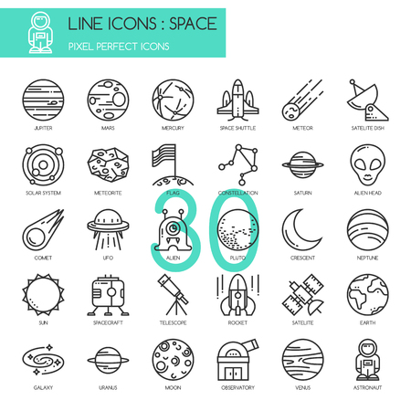 Illustration pour Space , thin line icons set ,pixel perfect icon - image libre de droit