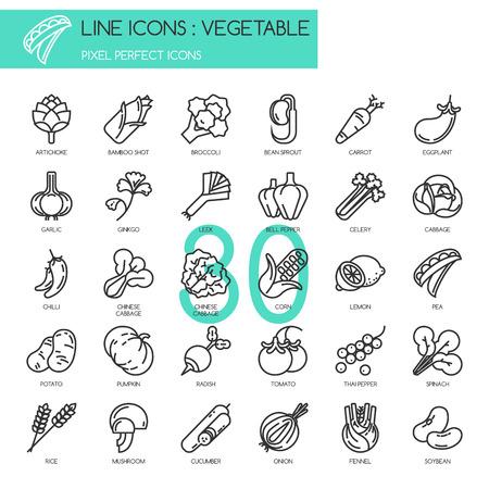 Ilustración de Vegetable , thin line icons set ,pixel perfect icon - Imagen libre de derechos