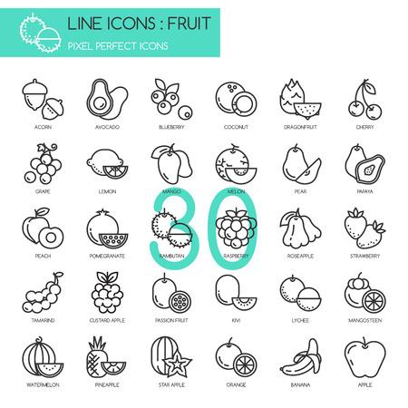 Illustration pour Fruit , thin line icons set ,pixel perfect icon - image libre de droit