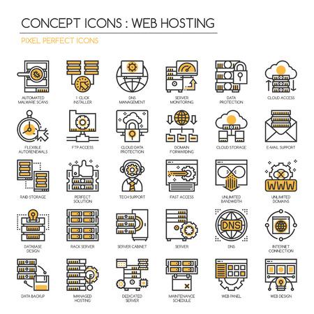 Vektor für Web hosting , Thin Line and Pixel Perfect Icons - Lizenzfreies Bild