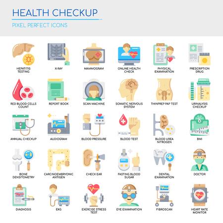 Illustration pour Health Checkup   Thin Line and Pixel Perfect Icons Vector illustration. - image libre de droit