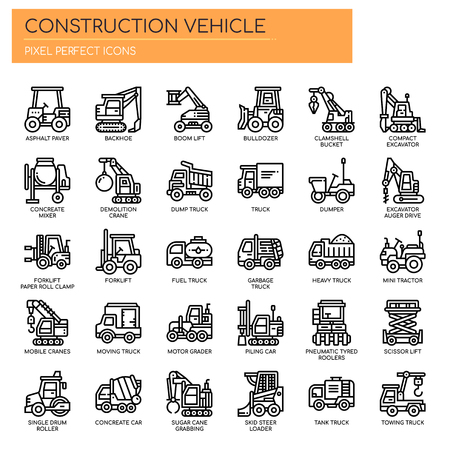 Construction Vehicle , Thin Line and Pixel Perfect Icons