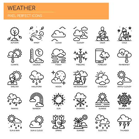 Illustration pour Weather , Thin Line and Pixel Perfect Icons - image libre de droit
