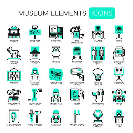 Illustration pour Museum Elements , Thin Line and Pixel Perfect Icons - image libre de droit