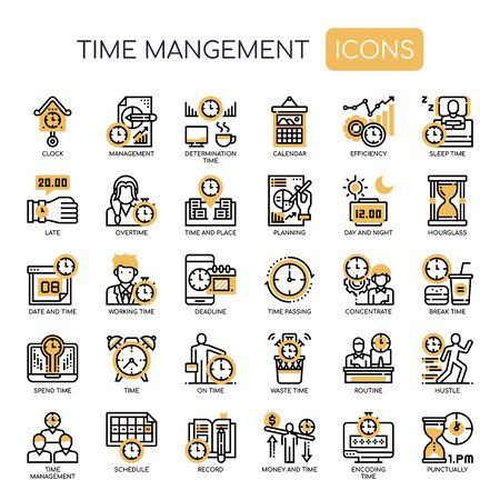 Illustration pour Time Management , Thin Line and Pixel Perfect Icons - image libre de droit