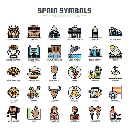 Ilustración de Spain Symbols , Thin Line and Pixel Perfect Icons - Imagen libre de derechos