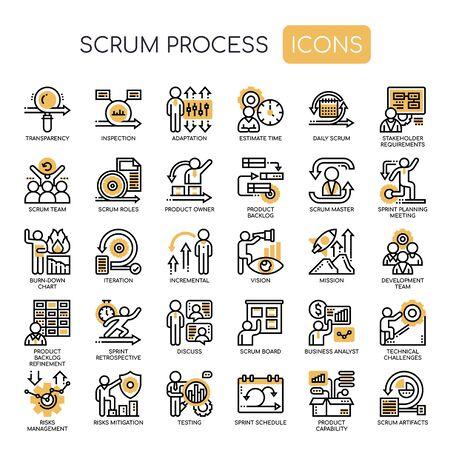 Illustration pour Scrum Process , Thin Line and Pixel Perfect Icons - image libre de droit