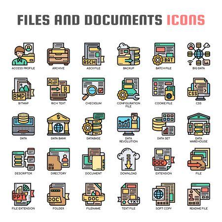 Illustration pour Files and Documents , Thin Line and Pixel Perfect Icons - image libre de droit