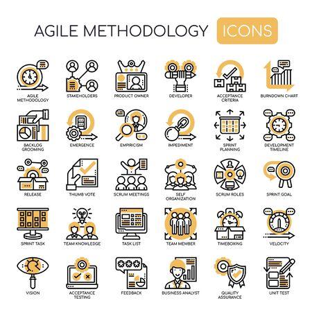 Illustration pour Agile Methodology , Thin Line and Pixel Perfect Icons - image libre de droit
