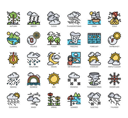 Illustration pour Set of weather thin line and pixel perfect icons for any web and app project. - image libre de droit