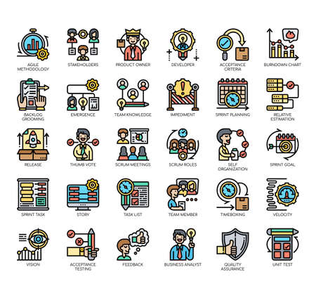 Illustration pour Set of agile methodology thin line and pixel perfect icons for any web and app project. - image libre de droit