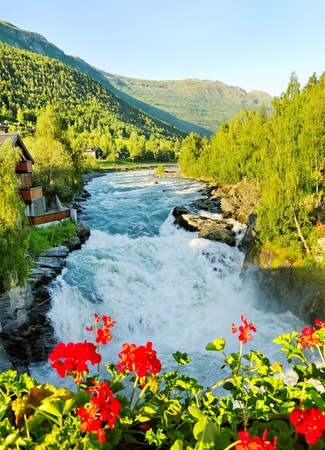 Morning above Bovra river in the Norway.