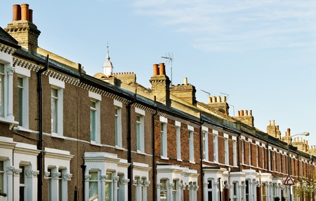 Homes in the London with chimneis.