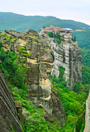Landscape with tall rocks with buildings on them, monastery from Meteora-Greece.
