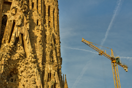 BARCELONA, SPAIN -  SEPTEMBER 18: La Sagrada Familia - the impressive cathedral designed by Gaudi, which is being build since 19 March 1882 and is not finished yet September 18, 2014 in Barcelona, Spain.