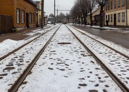 Photo pour View to tram road in a winter. - image libre de droit