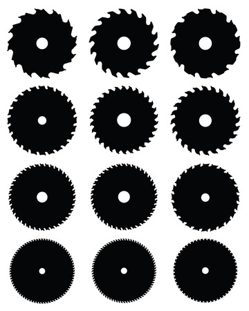 Black silhouettes of circular saw blades, vector illustration