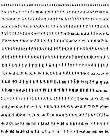 Big collection of people silhouettes, vector