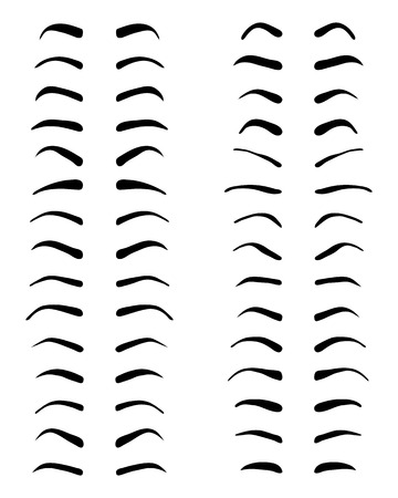 Photo pour Types and forms of eyebrows, tattoo design, vector - image libre de droit