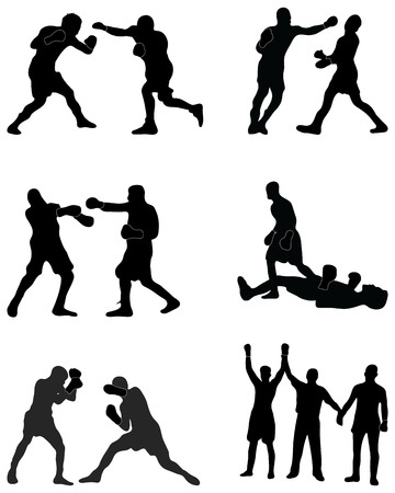 Black silhouettes of boxers in the fight, vector
