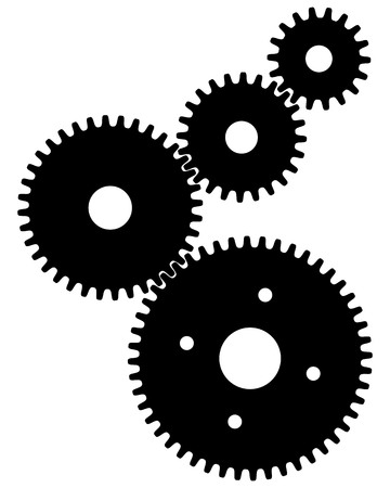 Black gears for teamwork symbolism on a white background