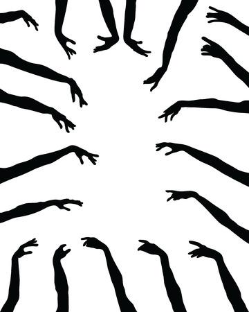 Ilustración de Black silhouettes of hands on a white background - Imagen libre de derechos