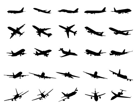Illustration for Black silhouettes of planes on a white background - Royalty Free Image
