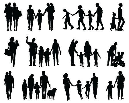 Illustration pour Black silhouettes of families in walking on a white background - image libre de droit