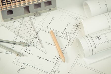 Photo for Electrical diagrams, accessories for use in engineer jobs and house under construction, concept of building home - Royalty Free Image