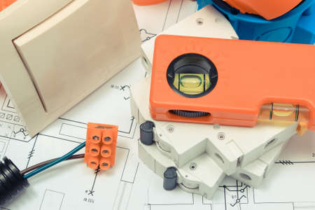 Photo pour Components and accessories for electrical installations and construction diagrams of house - image libre de droit