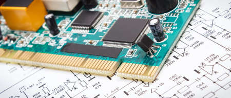 Photo pour Printed circuit board with transistors, resistors, capacitor. Diagram of electronics. Technology - image libre de droit