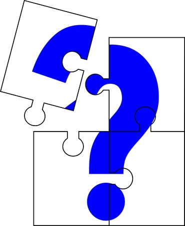Puzzle of four parts forming a question mark: Royalty-free vector