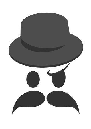 Face with a mustache and hat