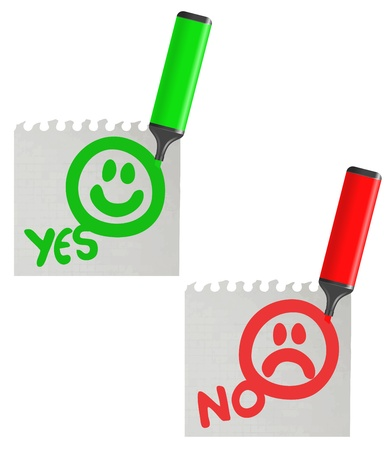 Yes and no faces paper message