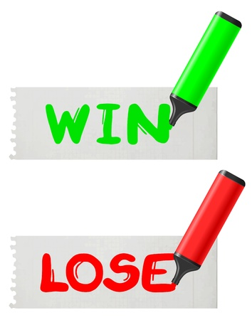 Win and lose paper message