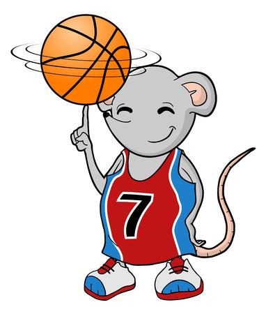 Illustration for basketball rat player - Royalty Free Image