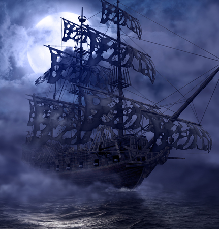 Photo for Sailing pirate ghost ship, Flying Dutchman, on the high seas in a moonlit night, 3d render painting - Royalty Free Image