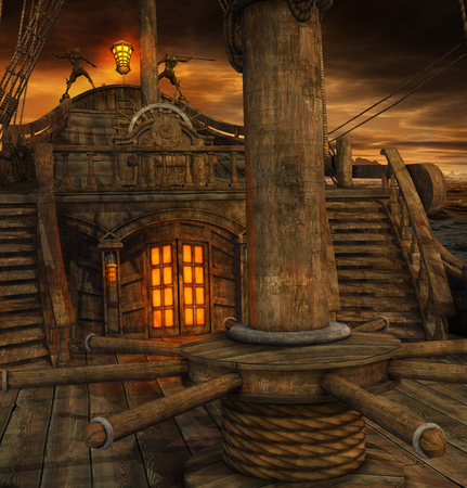 Photo pour Pirate ship deck with stairs to the galley and door to the captains cabin, 3d render - image libre de droit