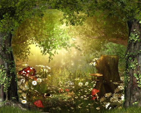 Foto per Beautiful enchanting fairy tale lush woodland, 3d render - Immagine Royalty Free