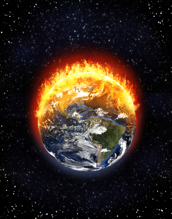 Foto per Burning Earth globe North and South America, starfield background, climate change concept, 3d render - Immagine Royalty Free