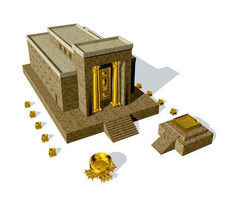 Photo for Old Testament, the Temple of Solomon was the first holy temple of the ancient Israelites, located in Jerusalem and built by King Solomon, 3d render isolated on white background - Royalty Free Image