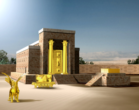 Photo for From the Old Testament, the Jewish Temple of Solomon was the first holy temple of the ancient Israelites, located in Jerusalem and built by King Solomon, 3d render  - Royalty Free Image