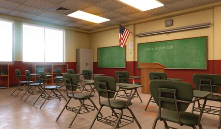Detailed, empty and unique educational classroom environment of an American school, college or university, desk and chair combos, chalkboard, 3d render