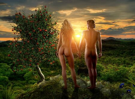 Photo for Adam and Eve watching a sunset in paradies eden next to the tree with the forbidden fruit, from the Bible Genesis story, digital painting with 3d render elements - Royalty Free Image