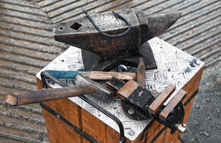 Forge tools on an anvil