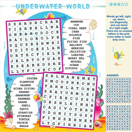 Underwater world zigzag word search puzzle, answer included