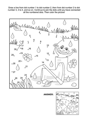 Illustration pour Rainy autumn day connect the dots picture puzzle and coloring page with umbrella, gumboots and happy frog. Answer included. - image libre de droit