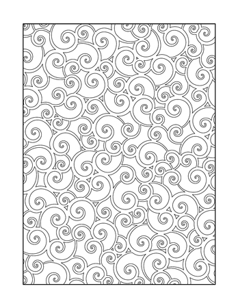 Illustration pour Coloring page for adults children ok, too with whimsical swirls pattern, or monochrome decorative background. - image libre de droit